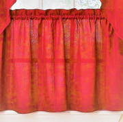 "Ribcord 24"" kitchen curtain tier - Red"