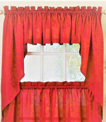 Ribcord Kitchen Curtain - Red