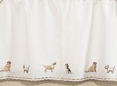 "Dogs 24"" kitchen curtain tier"