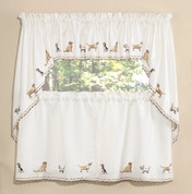 Dogs Embroidered Kitchen Curtains