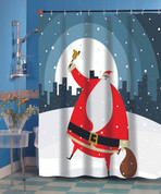 Santa Claus in the City Christmas Shower Curtain