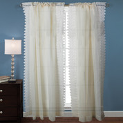 Deville Lace rod pocket curtain panel - Parchment (picture shows 2)