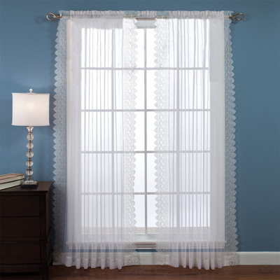Deville Lace rod pocket curtain panel - White (picture shows 2)