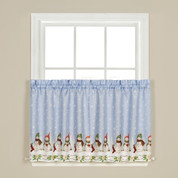 "Winter Wonderland Christmas 36"" kitchen curtain tier"