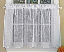 "Floral Spray 24"" kitchen curtain tier - White"
