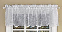 Floral Spray kitchen curtain valance - White