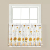 "Sunflowers & Honey Bees 24"" kitchen curtain"