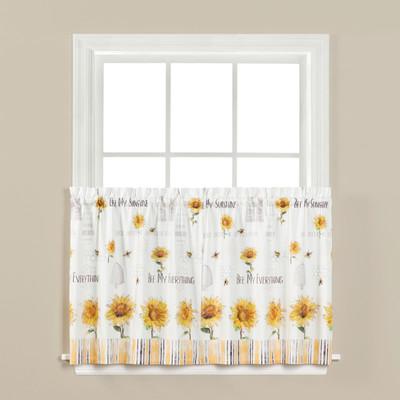 "Sunflowers & Honey Bees 36"" kitchen curtain"