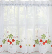 "Strawberries 36"" kitchen curtain tier"