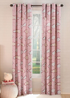 Clouds Blackout Grommet Top Curtain in Pink from Lorraine Home Fashions (2 panels shown)