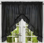 Stacey kitchen curtain swag - Black