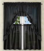 Stacey Solid Kitchen Curtain - Black