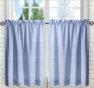 "Stacey 30"" kitchen curtain tier - Slate Blue"