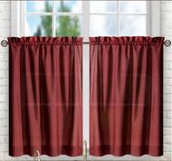 """Stacey 24"""" kitchen curtain tier - Merlot Burgundy"""