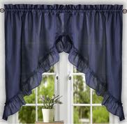 Stacey kitchen curtain swag - Navy Blue