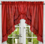 Stacey kitchen curtain swag - Red