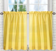 "Stacey 24"" kitchen curtain tier - Yellow"