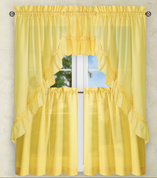 Stacey Solid Kitchen Curtain - Yellow