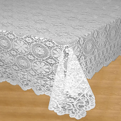 Hopewell Lace Tablecloth 58x84 - White