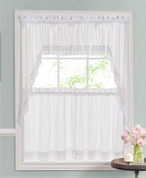 Ribbon Eyelet Embroidered Kitchen Curtain - White from Lorraine Home Fashions