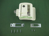 Global | 013-571 | RV Travel Trailer Entry Door Entrance Lock Assembly White