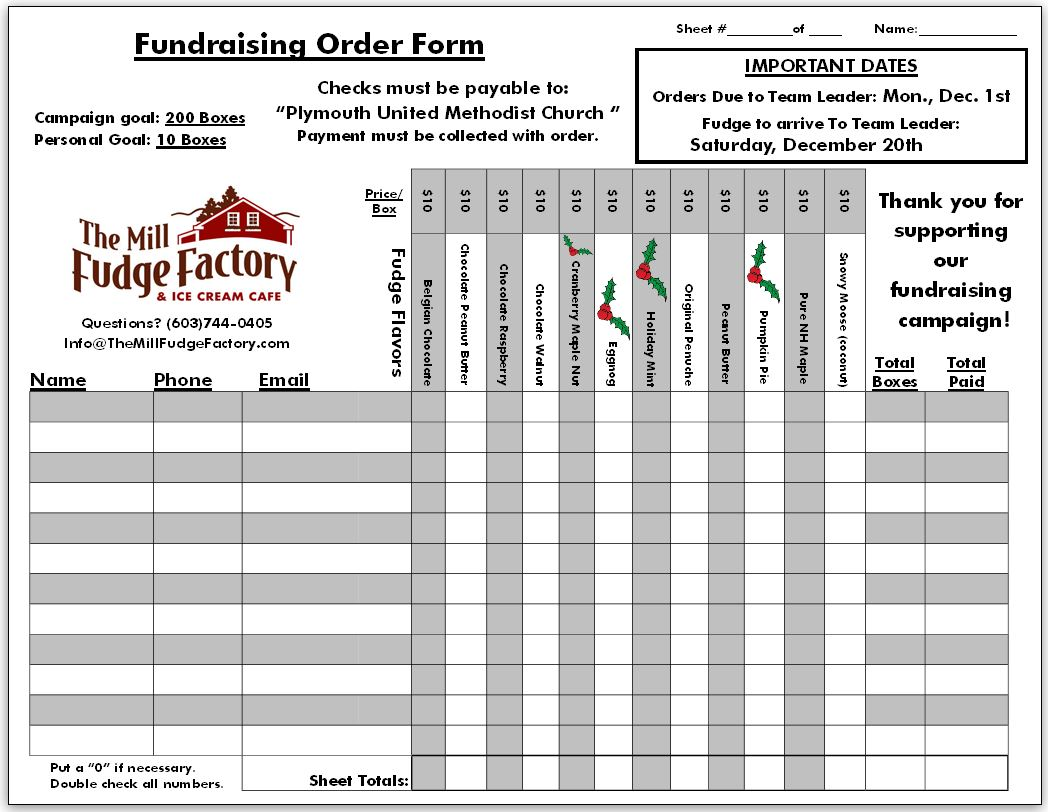 Sample Fundraiser Order Forms  Fundraising Form Template