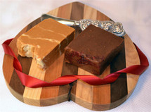 Gift Set with Heart Shaped Cutting Board and Two Slices of Fudge