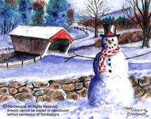 Snowman Covered Bridge Greeting Card