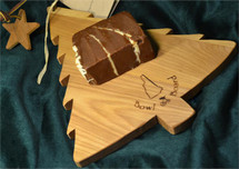 Christmas Tree Cutting Board with One Slice of Fudge