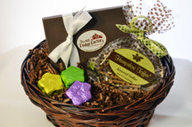 Chocolate Gift Basket with Salted Caramel Fudge, Almond Toffee and Chocolate Flowers