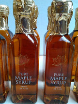 Pure New Hampshire Maple Syrup in a Tall Glass Bottle