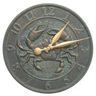 Whitehall Crab Sealife Clock - Bronze Verdigris - Aluminum