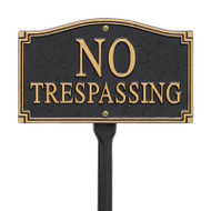 Whitehall No Trespassing Statement Plaque - Wall/Lawn - Black/Gold - Aluminum