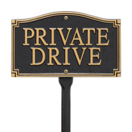 Whitehall Private Drive Statement Plaque - Wall/Lawn - Black/Gold - Aluminum