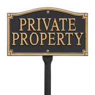 Whitehall Private Property Statement Plaque - Wall/Lawn - Black/Gold - Aluminum