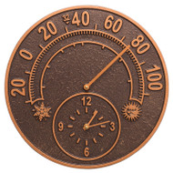"Whitehall 14""Solstice Clock And Thermometer - Antique Copper - Aluminum"