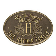 Whitehall Bless This Home Monogram Oval Personalized Plaque