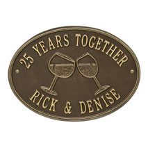 Whitehall Wine Glass Oval Personalized Plaque