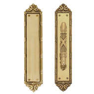 "BRASS Accents Ribbon & Reed Push & Pull Plate Collection 2-1/2"" x 13-3/4"""