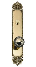 """BRASS Accents Fluer De Lis Collection Knob / Lever Entry Set - 3"""" x 18"""" Plates"""