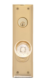 "BRASS Accents Quaker Collection Knob / Lever Entry Set - 2-3/4"" x 10"" Plates"