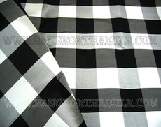 Gingham Black & White Check 100% AUTH Silk Fabric