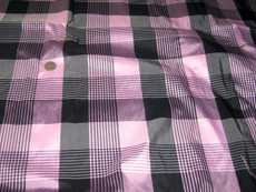 Pink & Black Check Gingham & Stripe 100% AUTH Silk Fabric