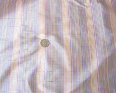 Colorful Stripe Corduroy Silver Metallic 100% AUTH Silk Fabric