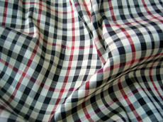Ivory Red Plaid  100% AUTH Silk Fabric