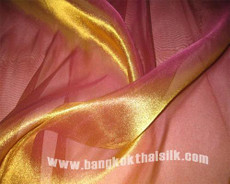 Gold Shot Pink Organdy Fabric Japan Imported