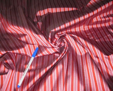Red & Pale Dusty Rose Pin Stripe 100% AUTH Silk Fabric