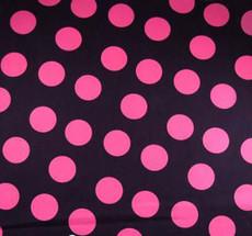Pink Polka Dots on Black Cotton