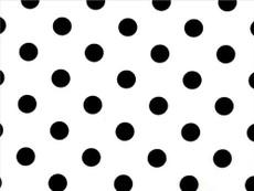 White Polka Dots print on Black Cotton Fabric