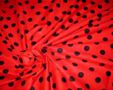 "Polished Cotton Polka Dot Fabric 44""W - Black on Red"